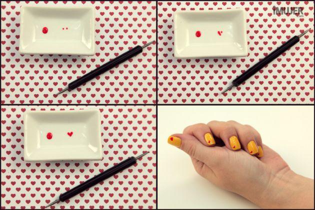 Decoração de unhas com coração