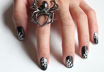 Desenho de unhas para halloween: Teias de aranha