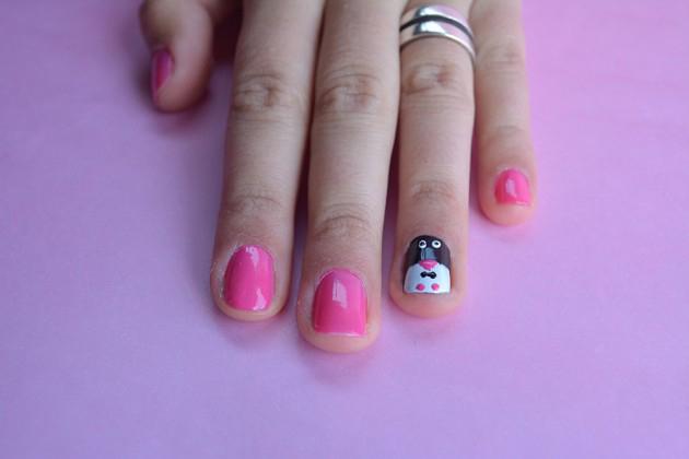 Decoração de unhas de pinguim